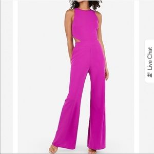 NWT express fuchsia pink side cut out jumpsuit xs